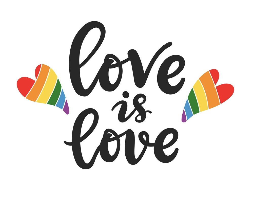 Love is love slogan. Gay, lesbian lettering poster